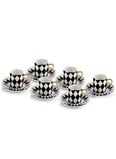 Porio Siyah-Beyaz Bone Chına 6 Kş.Kahve Fincan Takımı Siyah